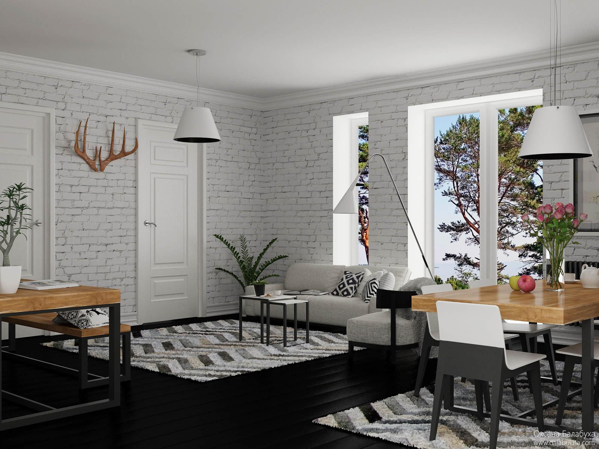 дизайн спальни-гостиной 17 метров