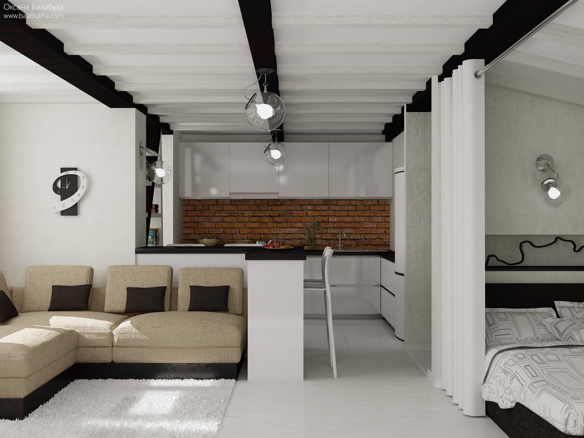 дизайн однокомнатной квартиры с 2 детьми