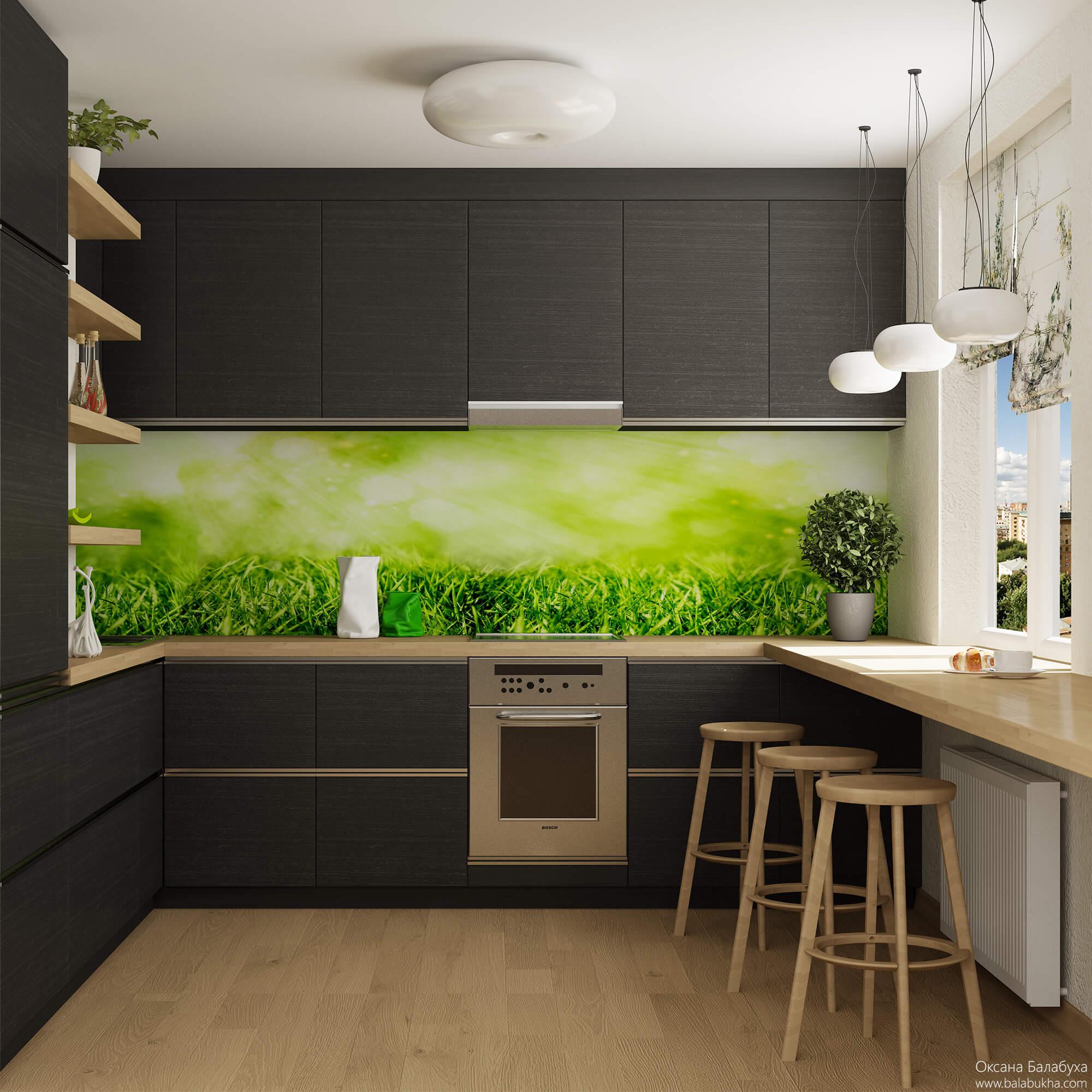 дизайн и освещение маленькой кухни